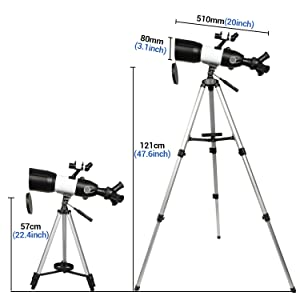 4d625be9 e718 458a ab25 c204d22776c4.  CR0,0,1500,1500 PT0 SX300 V1    - Telescope 80mm Large Aperture for Astronomy Beginners, Adults and Kids, 3 Rotatable Eyepieces Refractor Telescope 400mm/80mm Good Partner to View Moon Landscape and Planet, with Tripod, Phone Adapter