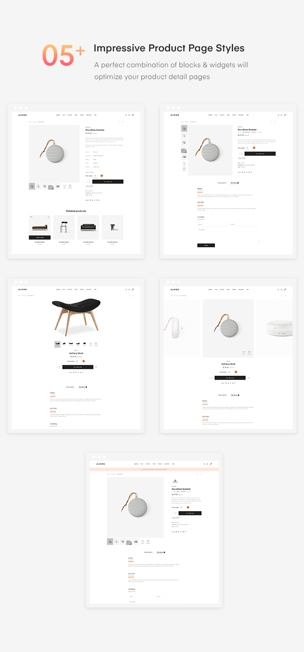 5 - Auros - Furniture Elementor WooCommerce Theme