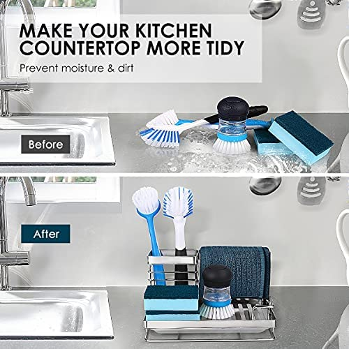 51+oaSUVc0L. AC  - Kitchen Sink Caddy Sponge Holder: Rust Proof Kitchen Sink Organizer for Dish Rag Soap Brush - Sponge Holder with Drain Tray for Counter