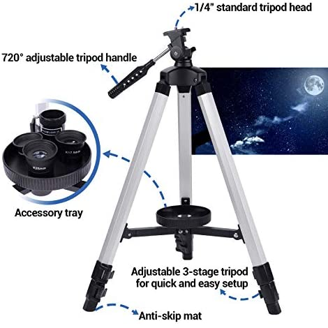 510oNcKa3BL. AC  - Telescope 80mm Large Aperture for Astronomy Beginners, Adults and Kids, 3 Rotatable Eyepieces Refractor Telescope 400mm/80mm Good Partner to View Moon Landscape and Planet, with Tripod, Phone Adapter
