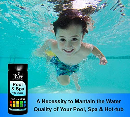 511oHnZrvYL. AC  - JNW Direct Pool and Spa Test Strips - 100 Strip Pack, Test pH, Chlorine, Bromine, Hardness and More, Accurate 7-in-1 Swimming Pool Water Testing