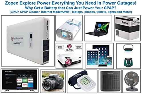 512WkeLWd2S. AC  - Zopec EXPLORE 8000 CPAP Battery Backup Power Supply (3-4 Nights). Automatic Switch in Power Outage. Uninterrupted Sleep! Works with All CPAP Brands. Sleep All Night with Humidifier!