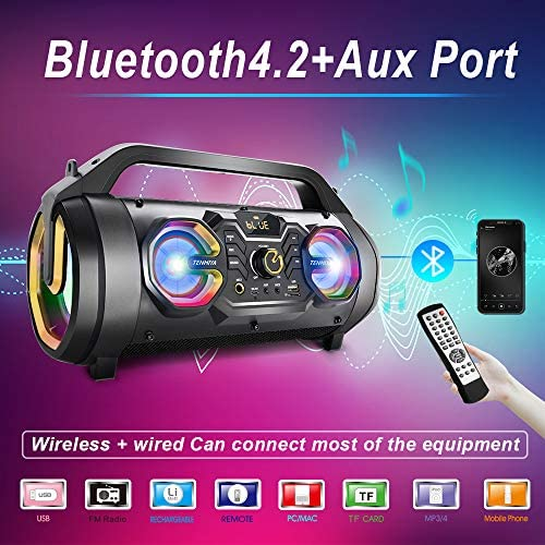 512t4g yBsL. AC  - Bluetooth Speakers, 30W Portable Bluetooth Boombox with Subwoofer, FM Radio, RGB Colorful Lights, EQ, Stereo Sound, Booming Bass, 10H Playtime Wireless Outdoor Speaker for Home, Party, Camping, Travel
