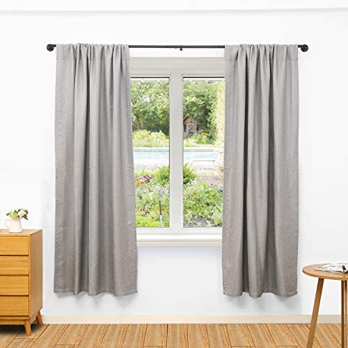 514jkwHYtJL. AC  - 1 Inch Industrial Curtain Rod, Curtain Rods for Windows 48 to 84 Inch, Rustic Wrap Around Curtain Rod, Fits for Blackout Curtain, Indoor and Outdoor, Size: 48-86 Inch, Matte Black