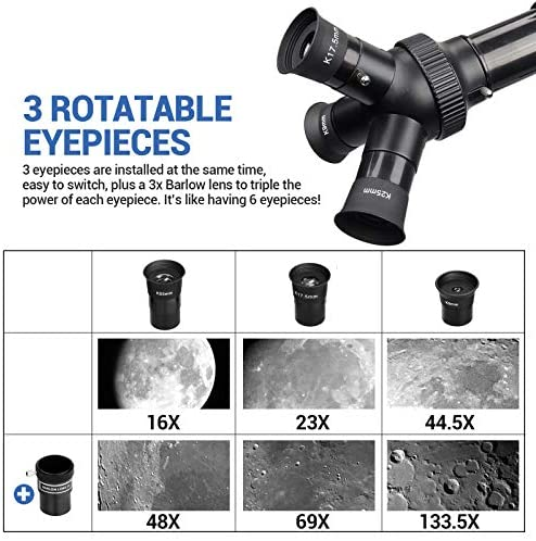 515wgH9FAjL. AC  - Telescope 80mm Large Aperture for Astronomy Beginners, Adults and Kids, 3 Rotatable Eyepieces Refractor Telescope 400mm/80mm Good Partner to View Moon Landscape and Planet, with Tripod, Phone Adapter