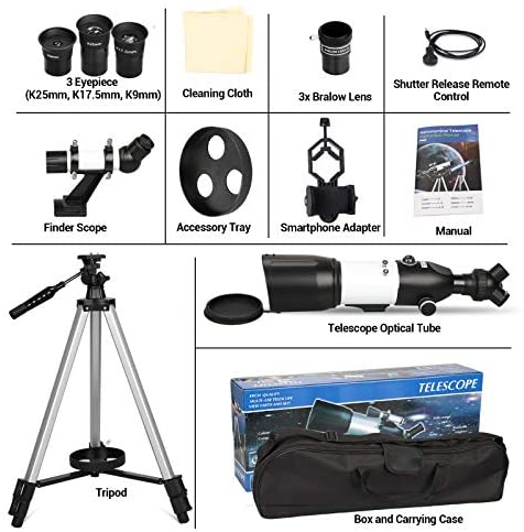 517OMBHRpWL. AC  - Telescope 80mm Large Aperture for Astronomy Beginners, Adults and Kids, 3 Rotatable Eyepieces Refractor Telescope 400mm/80mm Good Partner to View Moon Landscape and Planet, with Tripod, Phone Adapter