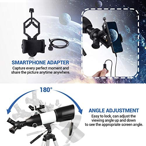 519CPfio+ZL. AC  - Telescope 80mm Large Aperture for Astronomy Beginners, Adults and Kids, 3 Rotatable Eyepieces Refractor Telescope 400mm/80mm Good Partner to View Moon Landscape and Planet, with Tripod, Phone Adapter