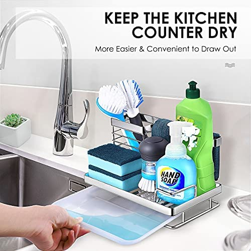 51BhgQXjGjL. AC  - Kitchen Sink Caddy Sponge Holder: Rust Proof Kitchen Sink Organizer for Dish Rag Soap Brush - Sponge Holder with Drain Tray for Counter