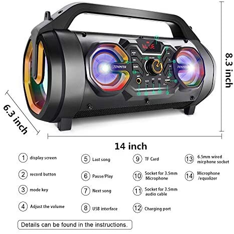 51J zUDyadL. AC  - Bluetooth Speakers, 30W Portable Bluetooth Boombox with Subwoofer, FM Radio, RGB Colorful Lights, EQ, Stereo Sound, Booming Bass, 10H Playtime Wireless Outdoor Speaker for Home, Party, Camping, Travel