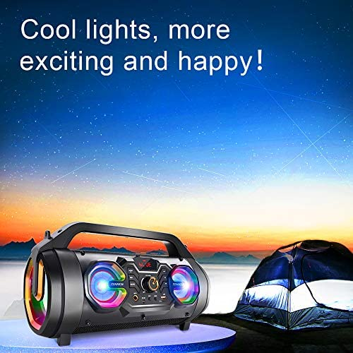 51N1XPFwQtL. AC  - Bluetooth Speakers, 30W Portable Bluetooth Boombox with Subwoofer, FM Radio, RGB Colorful Lights, EQ, Stereo Sound, Booming Bass, 10H Playtime Wireless Outdoor Speaker for Home, Party, Camping, Travel