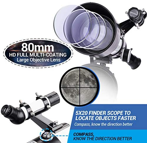 51Wdzbm2mPL. AC  - Telescope 80mm Large Aperture for Astronomy Beginners, Adults and Kids, 3 Rotatable Eyepieces Refractor Telescope 400mm/80mm Good Partner to View Moon Landscape and Planet, with Tripod, Phone Adapter