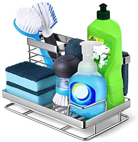 51aUZ2kQlEL. AC  - Kitchen Sink Caddy Sponge Holder: Rust Proof Kitchen Sink Organizer for Dish Rag Soap Brush - Sponge Holder with Drain Tray for Counter