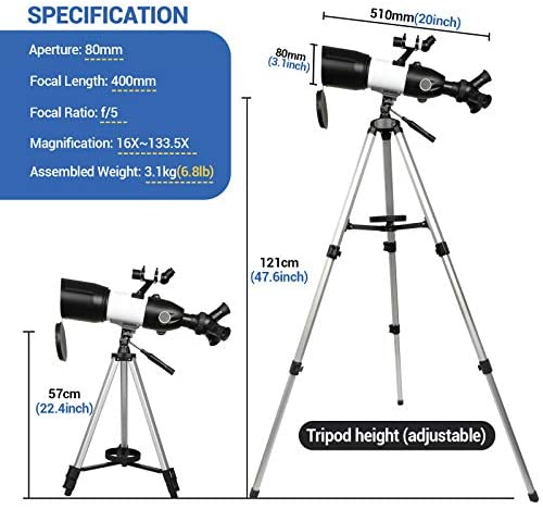51bb25uKKEL. AC  - Telescope 80mm Large Aperture for Astronomy Beginners, Adults and Kids, 3 Rotatable Eyepieces Refractor Telescope 400mm/80mm Good Partner to View Moon Landscape and Planet, with Tripod, Phone Adapter