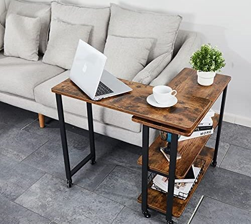 51f9f59hyS. AC  500x445 - Sofa Side Table with Storage Shelves Mobile Swivel End Table with Universal Wheels,L Shape Rolling Couch Table Desk for Living Room Bedroom,Brown