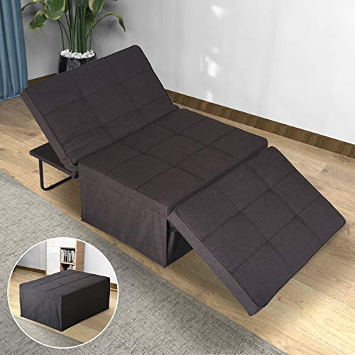 51hzw1 UuvL. AC  - Sofa Bed, Sleeper Chair Bed, 4 in 1 Multi-Function Convertible Chair, Folding Ottoman Guest Bed with 5-Level Adjustable Backrest, Brown