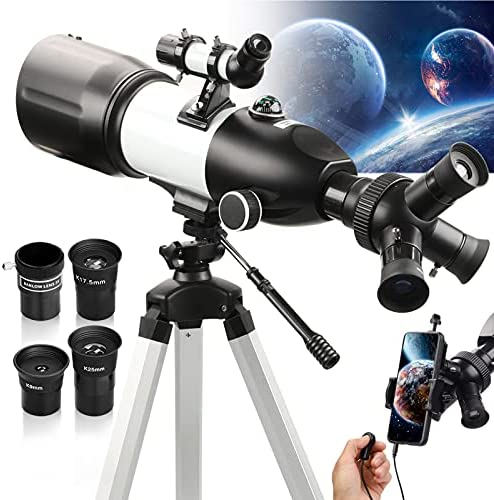 51k+JVybzMS. AC  - Telescope 80mm Large Aperture for Astronomy Beginners, Adults and Kids, 3 Rotatable Eyepieces Refractor Telescope 400mm/80mm Good Partner to View Moon Landscape and Planet, with Tripod, Phone Adapter