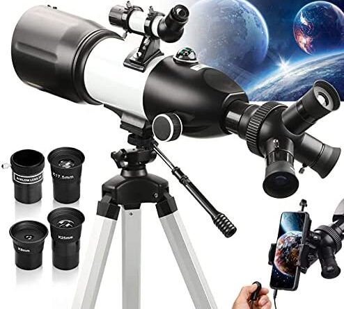 51kJVybzMS. AC  494x445 - Telescope 80mm Large Aperture for Astronomy Beginners, Adults and Kids, 3 Rotatable Eyepieces Refractor Telescope 400mm/80mm Good Partner to View Moon Landscape and Planet, with Tripod, Phone Adapter