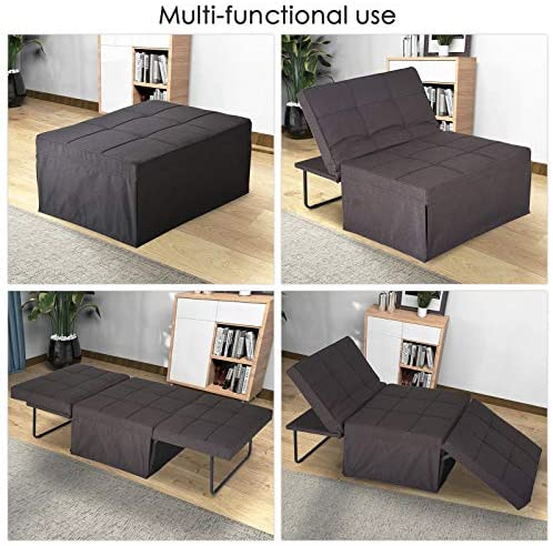 51rl334tiNL. AC  - Sofa Bed, Sleeper Chair Bed, 4 in 1 Multi-Function Convertible Chair, Folding Ottoman Guest Bed with 5-Level Adjustable Backrest, Brown