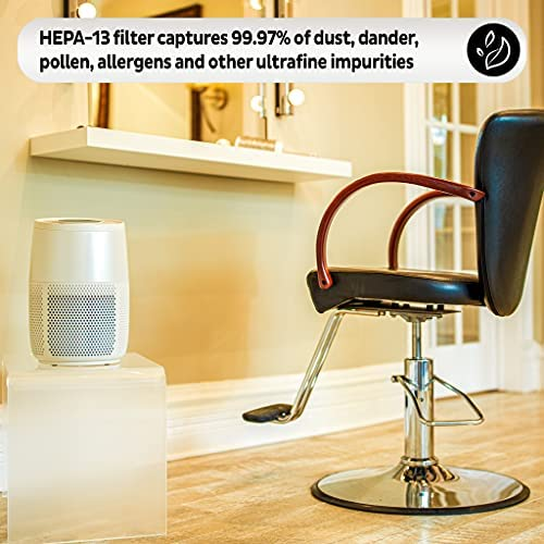 51rsYR8stZS. AC  - Instant Air Purifier, Helps remove 99.9% of viruses (COVID-19), bacteria, allergens, smoke; advanced 3-in-1HEPA-13filtration with plasma ion technology, Small Room, Pearl