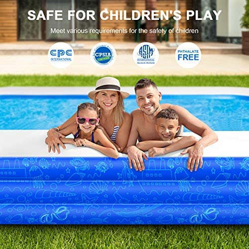 """51t2hbv47lL. AC  - Family Inflatable Swimming Pool, 118"""" X 72"""" X 22"""" Full-Sized Inflatable Kiddie Pool Thick Wear-Resistant Lounge Pools Above Ground for Baby, Kids, Adults, Toddlers, Outdoor, Garden, Backyard"""