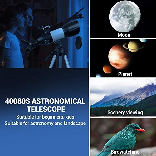 51w4pXUt76L. AC  - Telescope 80mm Large Aperture for Astronomy Beginners, Adults and Kids, 3 Rotatable Eyepieces Refractor Telescope 400mm/80mm Good Partner to View Moon Landscape and Planet, with Tripod, Phone Adapter