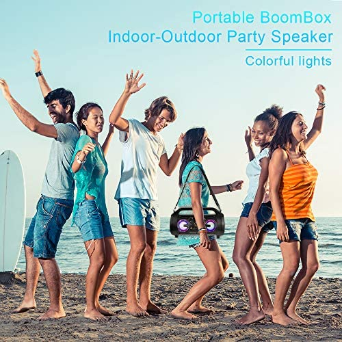61GCM9j4nTL. AC  - Bluetooth Speakers, 30W Portable Bluetooth Boombox with Subwoofer, FM Radio, RGB Colorful Lights, EQ, Stereo Sound, Booming Bass, 10H Playtime Wireless Outdoor Speaker for Home, Party, Camping, Travel