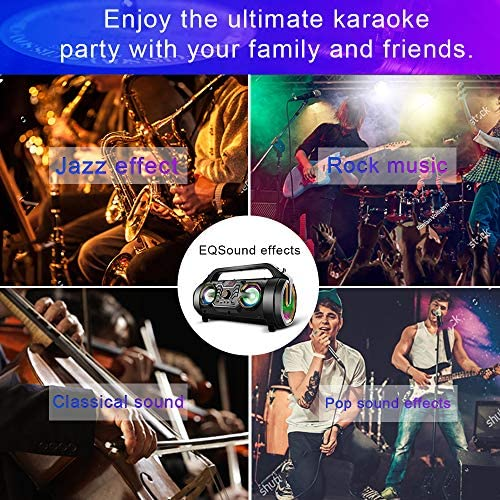 61Nl0quDlqL. AC  - Bluetooth Speakers, 30W Portable Bluetooth Boombox with Subwoofer, FM Radio, RGB Colorful Lights, EQ, Stereo Sound, Booming Bass, 10H Playtime Wireless Outdoor Speaker for Home, Party, Camping, Travel