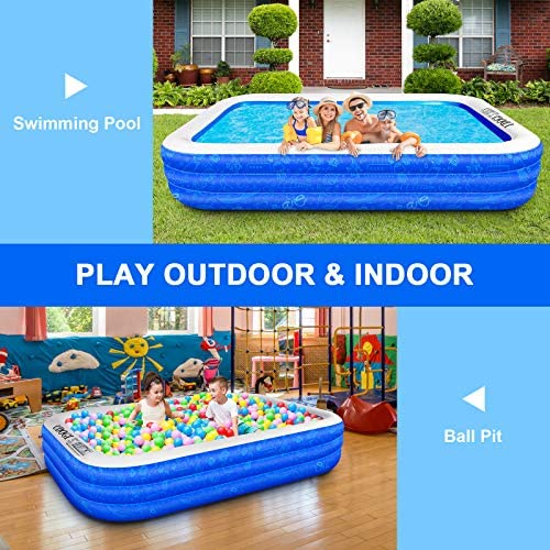 """61ojG1Q7myL. AC  - Family Inflatable Swimming Pool, 118"""" X 72"""" X 22"""" Full-Sized Inflatable Kiddie Pool Thick Wear-Resistant Lounge Pools Above Ground for Baby, Kids, Adults, Toddlers, Outdoor, Garden, Backyard"""