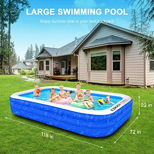 """61plGYl0cVL. AC  - Family Inflatable Swimming Pool, 118"""" X 72"""" X 22"""" Full-Sized Inflatable Kiddie Pool Thick Wear-Resistant Lounge Pools Above Ground for Baby, Kids, Adults, Toddlers, Outdoor, Garden, Backyard"""