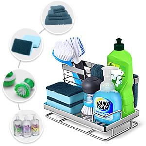 872c74c1 c9ca 454a b49d f70a8be72845.  CR0,0,300,300 PT0 SX300 V1    - Kitchen Sink Caddy Sponge Holder: Rust Proof Kitchen Sink Organizer for Dish Rag Soap Brush - Sponge Holder with Drain Tray for Counter