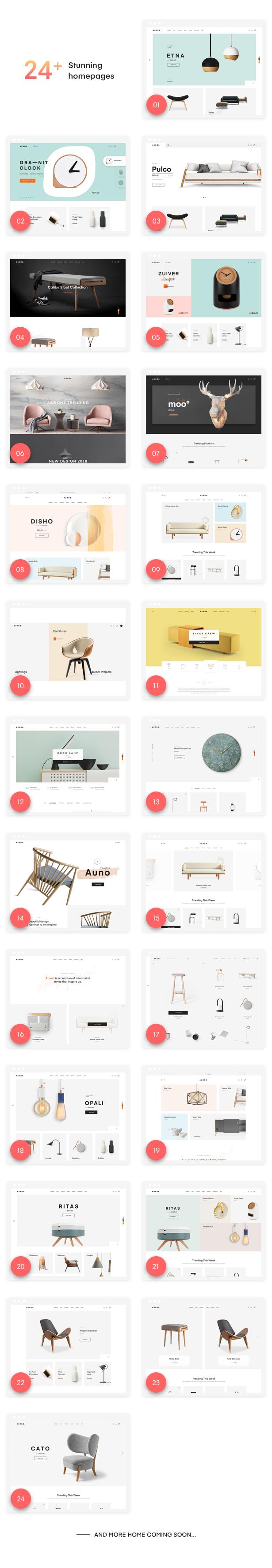 Homes - Auros - Furniture Elementor WooCommerce Theme