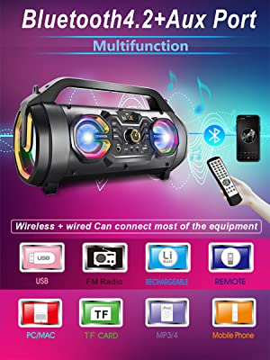 adaa8ec9 df57 4092 b0b0 abe6d40c8b9b.  CR0,0,900,1200 PT0 SX300 V1    - Bluetooth Speakers, 30W Portable Bluetooth Boombox with Subwoofer, FM Radio, RGB Colorful Lights, EQ, Stereo Sound, Booming Bass, 10H Playtime Wireless Outdoor Speaker for Home, Party, Camping, Travel
