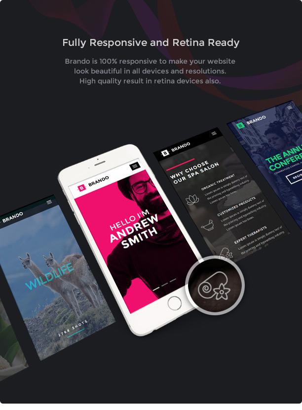 brando wp fully responsive new - Brando Responsive and Multipurpose OnePage WordPress Theme