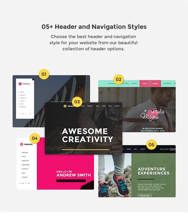 brando wp header nav style new - Brando Responsive and Multipurpose OnePage WordPress Theme