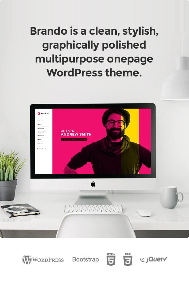 brando wp onepage template new - Brando Responsive and Multipurpose OnePage WordPress Theme
