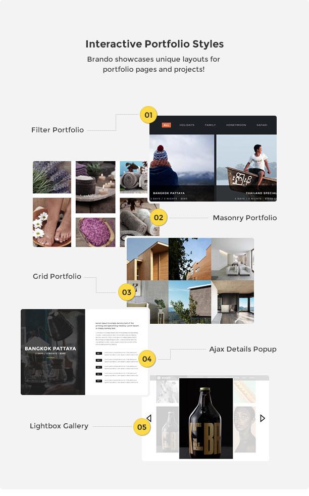 brando wp portfolio style new - Brando Responsive and Multipurpose OnePage WordPress Theme
