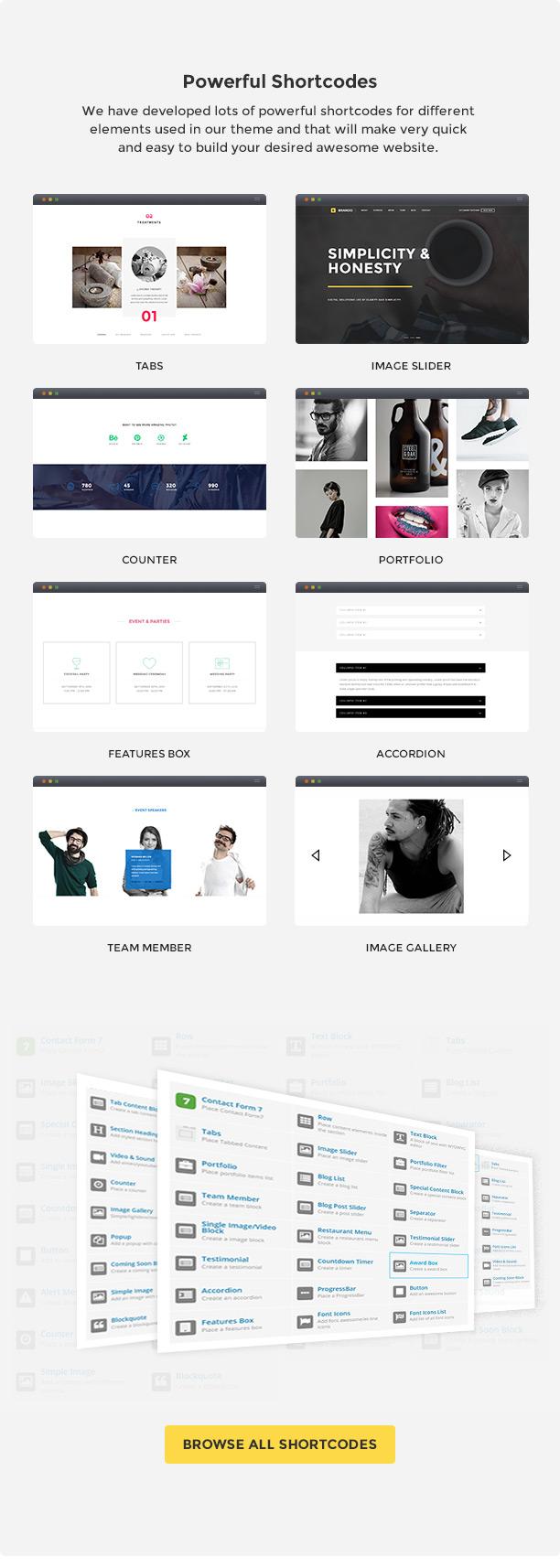 brando wp shortcodes new - Brando Responsive and Multipurpose OnePage WordPress Theme