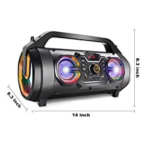 c82e660c 1b19 424a b937 de549d9498df.  CR0,0,1000,1000 PT0 SX300 V1    - Bluetooth Speakers, 30W Portable Bluetooth Boombox with Subwoofer, FM Radio, RGB Colorful Lights, EQ, Stereo Sound, Booming Bass, 10H Playtime Wireless Outdoor Speaker for Home, Party, Camping, Travel