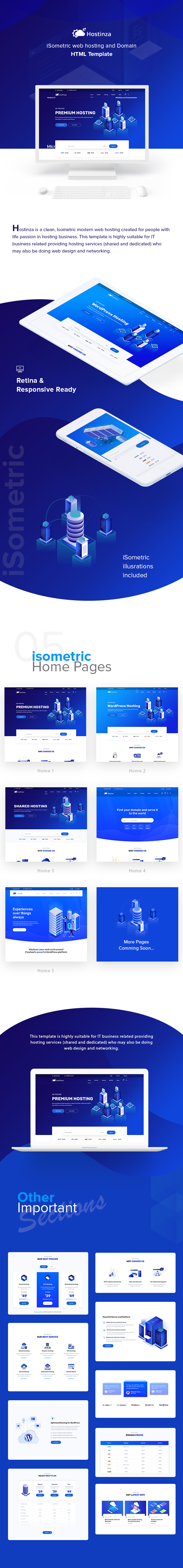 description 1 - Hostinza - Isometric Web Hosting, Domain and WHMCS Html Hosting Template