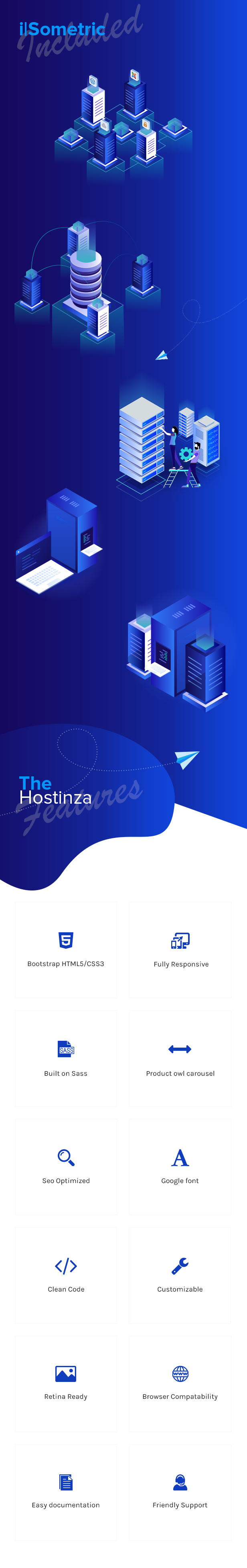 description 2 - Hostinza - Isometric Web Hosting, Domain and WHMCS Html Hosting Template