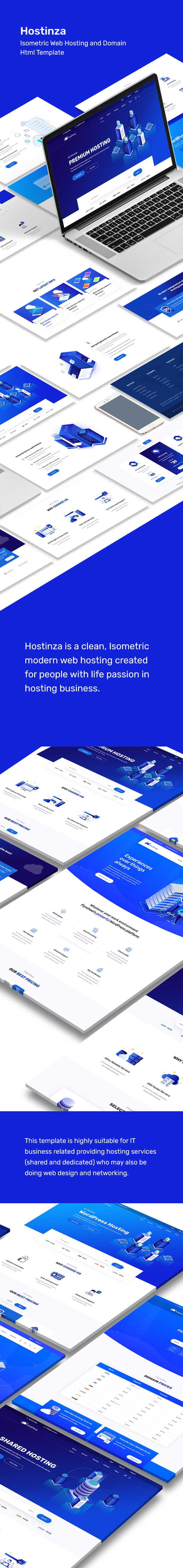description 4 - Hostinza - Isometric Web Hosting, Domain and WHMCS Html Hosting Template