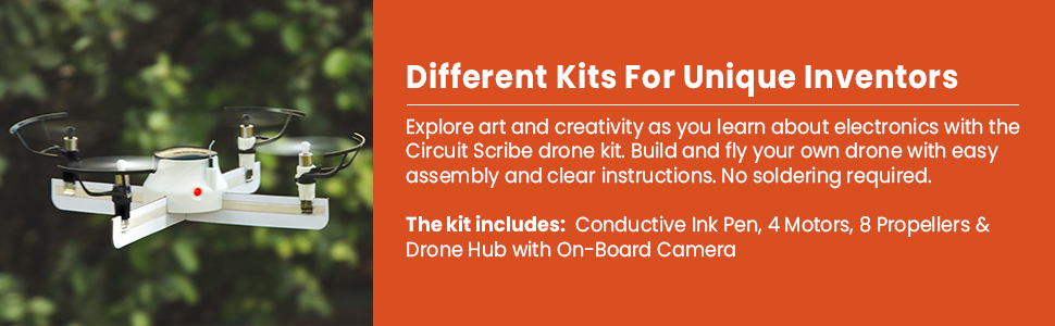fccf6301 9d61 4415 9ef2 a8f8b014f443.  CR0,0,970,300 PT0 SX970 V1    - Circuit Scribe Drone Builder Kit for Kids   Build Your Own Drone with Camera   With Conductive Ink Pen, Motors, Propellers, Free iOS/Android Controller App, Battery-Operated Drone Hub