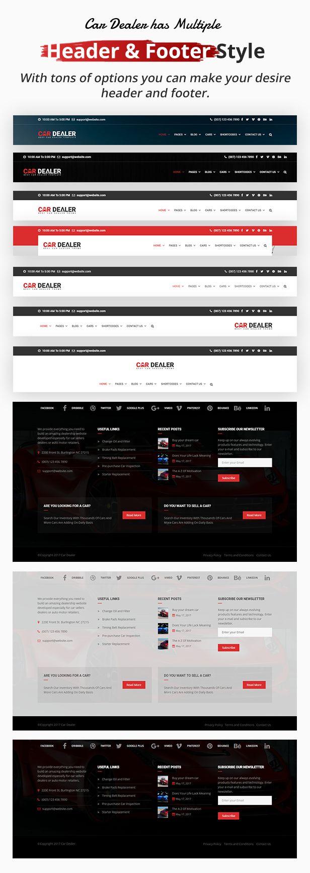 header footer - Car Dealer -  Automotive Responsive WordPress Theme